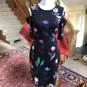 I Heart Ronson Bodycon Cold Shoulder Flower Dress